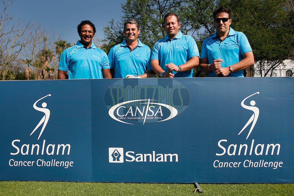 Breyton Paulse, Leslie Matthews, Dan Nicholl and Gary van Loggerenberg during round one of the Sanlam Cancer Challenge Delegates competition 2012 held at The Gary Player Golf and Country Club at Sun City on the 22nd October 2012...Photo by Mark Wessels/SPORTZPICS