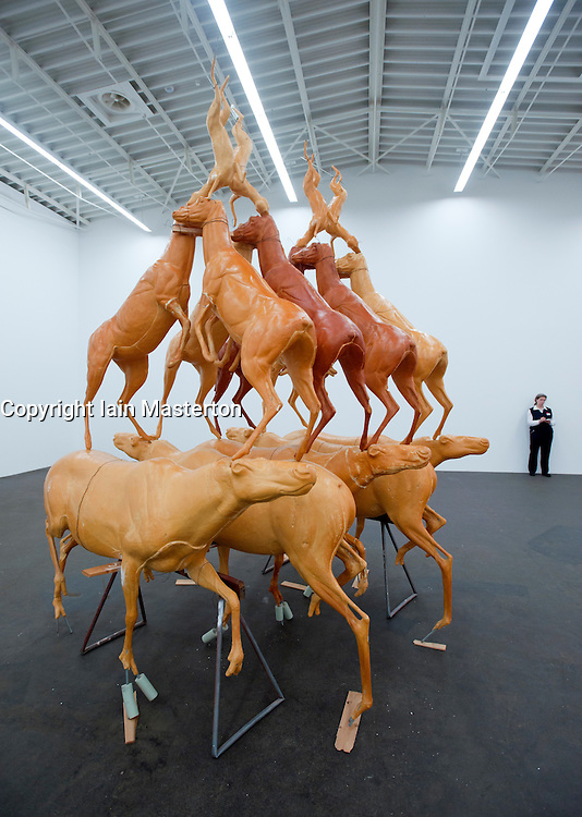 Sculpture by Bruce Nauman titled Animal Pyramid at Hamburger Bahnhof Museum of Contemporary Art in Berlin Germany