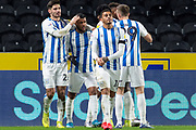 Goal Huddersfield Town Celebrate as Steve Mounie of Huddersfield Town scores a goal 1-2 during the EFL Sky Bet Championship match between Hull City and Huddersfield Town at the KCOM Stadium, Kingston upon Hull, England on 28 January 2020.
