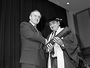 30/11/1992<br /> 11/30/1992<br /> 30 November 1992<br /> Conferring of Honorary Degrees (LL.D.) by the National Council for Educational Awards in Dublin Castle Conference Centre, Dublin. Picture shows Taoiseach Albert Reynolds, T.D. presenting Mr. Padraig MacDiarmada with his degree.