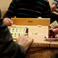 Playing Okey in a Beyoglu men's club, Istanbul, Turkey