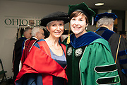 LJ Edmunds (Left) poses for a photo with Jennie Hall Jones at graduate Commencement. Photo by Ben Siegel