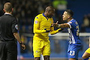 Leeds United defender, Souleman Bamba (3) argues with Brighton defender, full back, Liam Rosenior (23) during the Sky Bet Championship match between Brighton and Hove Albion and Leeds United at the American Express Community Stadium, Brighton and Hove, England on 29 February 2016. Photo by Phil Duncan.