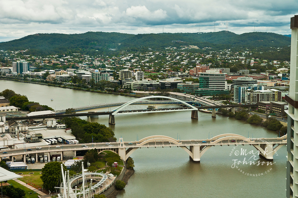 William Jolly Bridge (fg), Go Between Bridge (bg) over the Brisbane River, Brisbane, Queensland, Australia