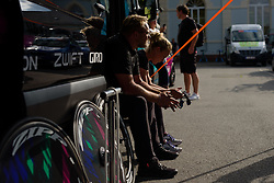 Waiting for the action to begin in the CANYON//SRAM Racing camp at Thüringen Rundfarht 2016 - Stage 4 a 19km time trial starting and finishing in Zeulenroda Triebes, Germany on 18th July 2016.