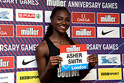 Dina Asher-Smith (GBR) at a press conference prior to the London Anniversary Games, Friday, July 19, 2019, in London, United Kingdom.