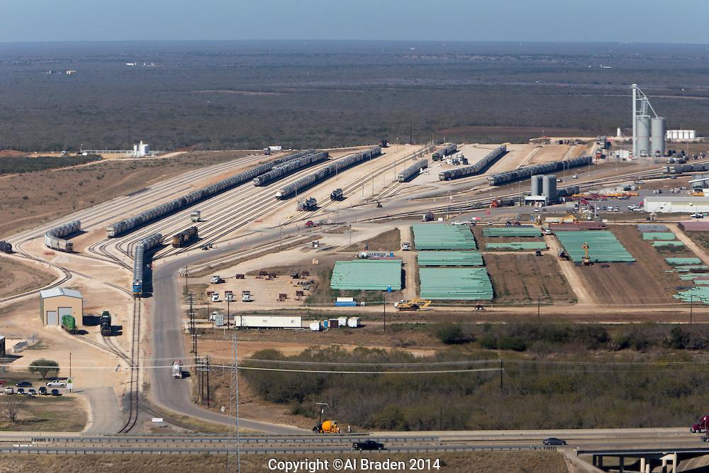 Pipe storage yard at Gardendale Rail Terminal, Cotulla, TX