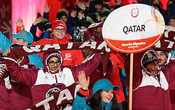 18.03.2017, Planai-Stadion, Schladming, AUT, Special Olympics 2017, Wintergames, Eröffnungsfeier, im Bild der Einmarsch der Delegation aus Katar // the delegation of Qatar during the opening ceremony in the Planai Stadium at the Special Olympics World Winter Games Austria 2017 in Schladming, Austria on 2017/03/17. EXPA Pictures © 2017, PhotoCredit: EXPA / Martin Huber