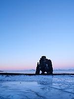 Hvítserkur Sea Stack at dusk. Húnafjörður, Northwest Iceland.