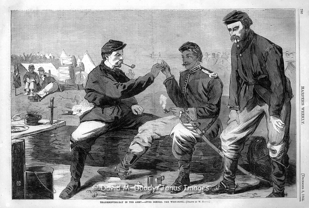 """Thanksgiving Day in the Army- after dinner, the wish-bone"" by Winslow Homer December 3, 1864 Harper's Weekly. Civil War"
