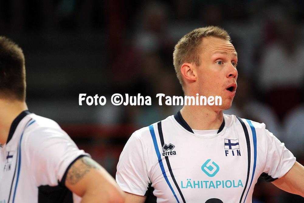 1.6.2013, Helsinki, Finland.<br /> Lentopallon Maailmanliiga 2013, Suomi - Portugali / FIVB World League 2013, Finland v Portugal.<br /> Mikko Esko - Suomi / Finland
