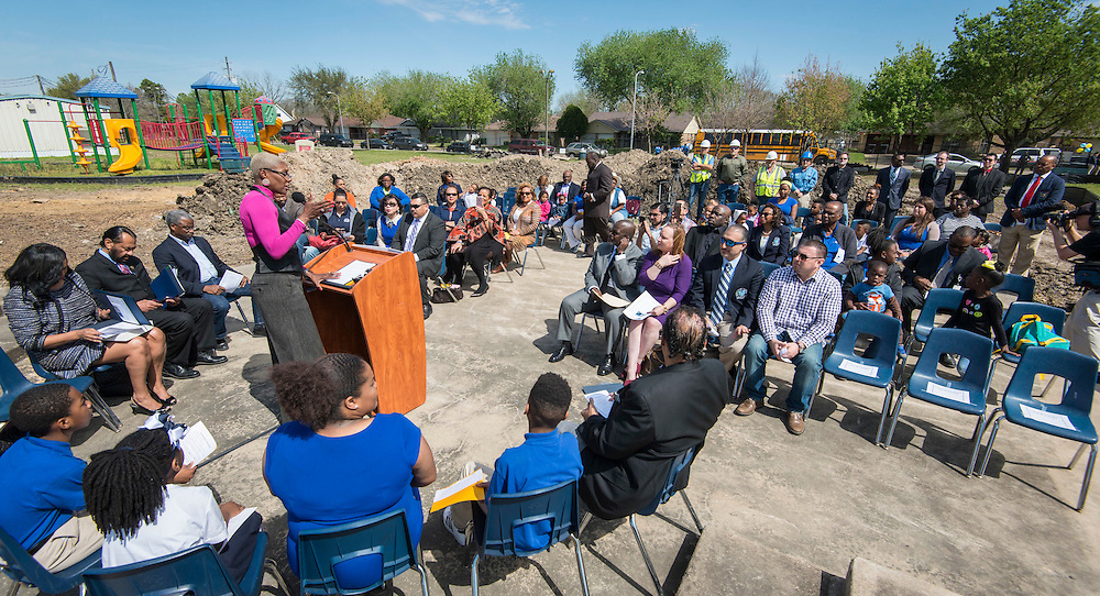 Houston ISD trustee Jolanda Jones comments during a groundbreaking ceremony at Codwell Elementary School, March 3, 2017.