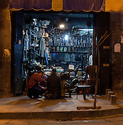 Traders after nightfall, Aleppo Streets, Syria