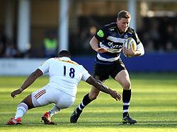 Rhys Priestland of Bath Rugby gets past Kyle Sinckler of Harlequins - Mandatory byline: Robbie Stephenson/JMP - 07966386802 - 31/10/2015 - RUGBY - Recreation Ground -Bath,England - Bath Rugby v Harlequins - Aviva Premiership