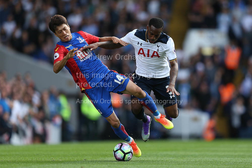 Danny Rose of Tottenham Hotspur  intercepts Chung-Yong Lee of Crystal Palace. Premier league match, Tottenham Hotspur v Crystal Palace at White Hart Lane in London on Saturday 20th August 2016.<br /> pic by John Patrick Fletcher, Andrew Orchard sports photography.