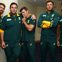 BIRMINGHAM, ENGLAND - SEPTEMBER 23:Willie le Roux with Frans Malherbe Schalk Brits Duane Vermeulen and Damian De Allende during the South African national rugby team announcement at Regency Hyatt Birmingham on September 23, 2015 in Birmingham, England. (Photo by Steve Haag)