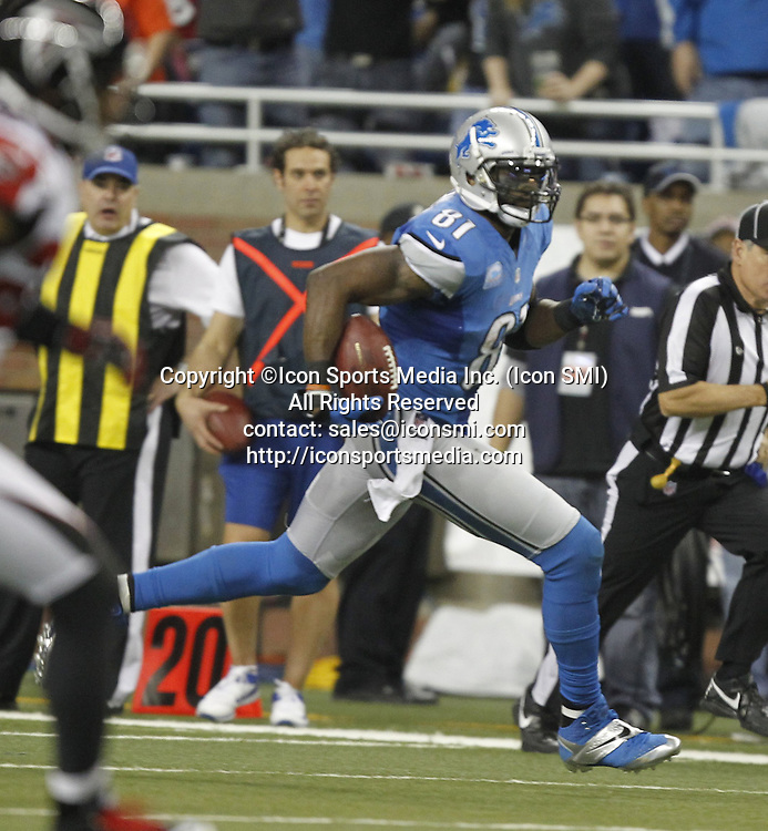 Dec. 22, 2012 - Detroit, MI, USA - Detroit Lions wide receiver Calvin Johnson with his record-setting reception in the fourth quater against the Atlanta Falcons at Ford Field in Detroit, Michigan, on Saturday, December 22, 2012. Johnson's catch lifted him over Jerry Rice for the NFL's single-season receiving yardage record.