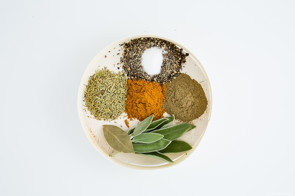 Spice mix for Turmeric & Lime Roast Chicken - turmeric, salt, pepper, thyme, sage, bay leave, rosemary
