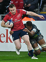 Rugby Union - 2019 / 2020 Champions Cup: Ospreys vs. Munster<br /> <br /> Rory Scannell of Munster counter attacks , at The Liberty Stadium.<br /> <br /> COLORSPORT/WINSTON BYNORTH