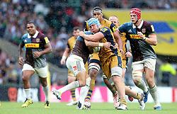 Jordan Crane of Bristol Rugby is tackled - Mandatory by-line: Robbie Stephenson/JMP - 03/09/2016 - RUGBY - Twickenham - London, England - Harlequins v Bristol Rugby - Aviva Premiership London Double Header