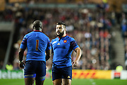 France prop Eddy Ben Arous and France prop Rabah Slimani during the Rugby World Cup 2015 Pool D match (22) between France and Canada at Stadium MK, Milton Keynes, England on 1 October 2015. Photo by David Charbit.