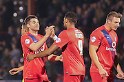 York City celebrate York City forward Vadaine Oliver goal  during the Sky Bet League 2 match between York City and Dagenham and Redbridge at Bootham Crescent, York, England on 20 October 2015. Photo by Simon Davies.