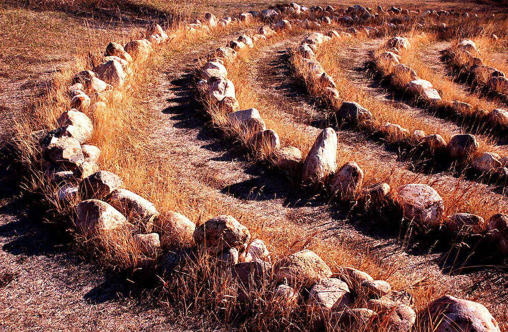 Stone labyrinth walk located at St. Michael's Retreat, Lumsden in the Qu'Appelle Valley, Saskatchewan