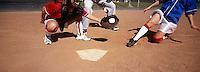 Girls (13-17) playing baseball, low section