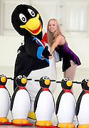 Repro Free: 15/11/2012.Ireland's Largest Christmas Ice-Rink Opens in Dublin.Figure Skater Sarah Dawson is pictured with Paudie the penguin ahead of the opening tomorrow (16 November) of i-Skate@The RDS, the largest rink operating in Ireland this year and will run until January 13th. Pic Andres Poveda.