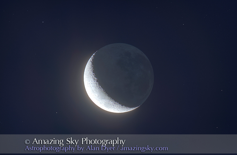 A HDR stack of 10 exposures at 1 stop intervals of the waxing crescent Moon with Earthshine taken from Australia on December 17, 2012, so the Moon appears upside down compared to the view from the northern hemisphere. Zenith is up, the horizon is toward the bottom of the frame. Taken with the Canon 60Da at ISO 100 and Astro-Physics Traveler 105mm apo refractor at f/5.8. Assembled in Photomatix Pro (Photoshop HDR created too many artifacts).