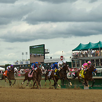 1 May 2009: The field crosses the wire for the first time in the Grade 1 Kentucky Oaks at Churchill Downs in Louisville, Kentucky.