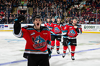 KELOWNA, BC - NOVEMBER 1: Pavel Novak #11 of the Kelowna Rockets celebrates a first period goal against the Prince George Cougars at Prospera Place on November 1, 2019 in Kelowna, Canada. (Photo by Marissa Baecker/Shoot the Breeze)