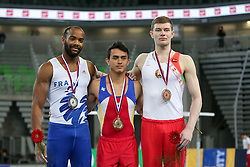 05-04-2015 SLO: World Challenge Cup Gymnastics, Ljubljana<br /> Winner Jossimar Orlando Calvo Moreno of Columbia, second place for Axel Augis and third place for Vasili Mikhalitsyn of Belarus in Parallel bars during Final of Artistic Gymnastics World Challenge Cup Ljubljana, on April 5, 2015 in Arena Stozice, Ljubljana, Slovenia. Photo by Morgan Kristan / RHF Agency