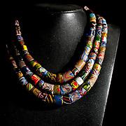 A traditonal Paiwan glass bead necklace on display at Dragonfly Bead Art Studio, Sandimen, Pingtung County, Taiwan