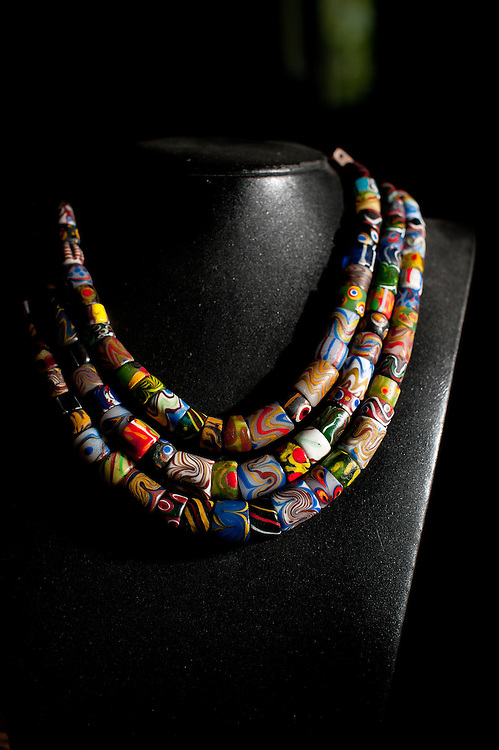 A traditonal Paiwan glass bead necklace on display at Dragonfly Bead Art Studio, Sandimen, Pingtung County, Taiwan