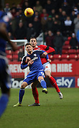 Cardiff City midfielder, Anthony Pilkington (13) battles for possesion with Charlton Athletic defender, Harry Lennon (26) during the Sky Bet Championship match between Charlton Athletic and Cardiff City at The Valley, London, England on 13 February 2016. Photo by Matthew Redman.
