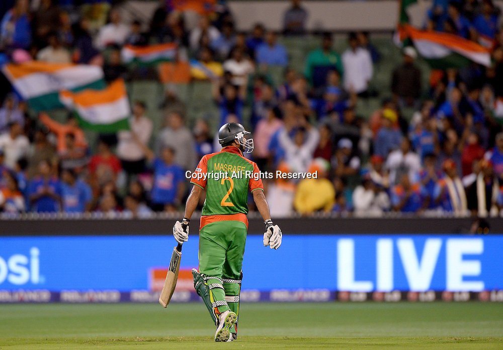 Masrafe Bin Mortaza (Bang)<br /> India vs Bangladesh / Qtr Final 2<br /> 2015 ICC Cricket World Cup<br /> MCG / Melbourne Cricket Ground <br /> Melbourne Victoria Australia<br /> Thursday 19 March 2015<br /> &copy; Sport the library / Jeff Crow