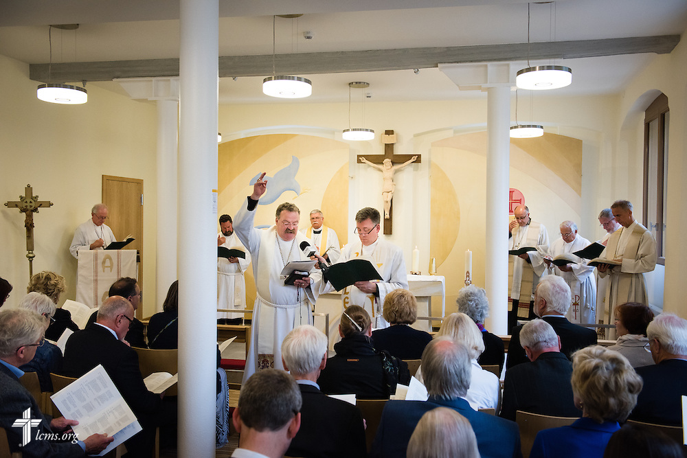 The Rev. Dr. Matthew C. Harrison, president of The Lutheran Church–Missouri Synod, blesses the chapel during the dedication of The International Lutheran Center at the Old Latin School on Sunday, May 3, 2015, in Wittenberg, Germany. LCMS Communications/Erik M. Lunsford
