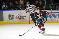KELOWNA, CANADA, NOVEMBER 25: Damon Severson #7 of the Kelowna Rockets skates with the puck as the Kootenay Ice visit the Kelowna Rockets  on November 25, 2011 at Prospera Place in Kelowna, British Columbia, Canada (Photo by Marissa Baecker/Shoot the Breeze) *** Local Caption ***