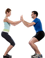 one caucasian couple man aerobic trainer positioning woman  Workout coach Posture in indoors studio isolated on white background