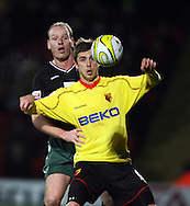 London - Wednesday, December 12th, 2008: Tamas Priskin of Watford and Gary Doherty of Norwich City during the Coca Cola Championship match at Vicarage Road, London. (Pic by Chris Ratcliffe/Focus Images)