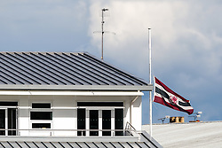 The Somerset CCC flag on the pavillion is flown at half mast in memory of recently deceased former player Brian Close - Mandatory byline: Rogan Thomson/JMP - 07966 386802 - 22/09/2015 - CRICKET - The County Ground - Taunton, England - Somerset v Warwickshire - Day 1 - LV= County Championship Division One.