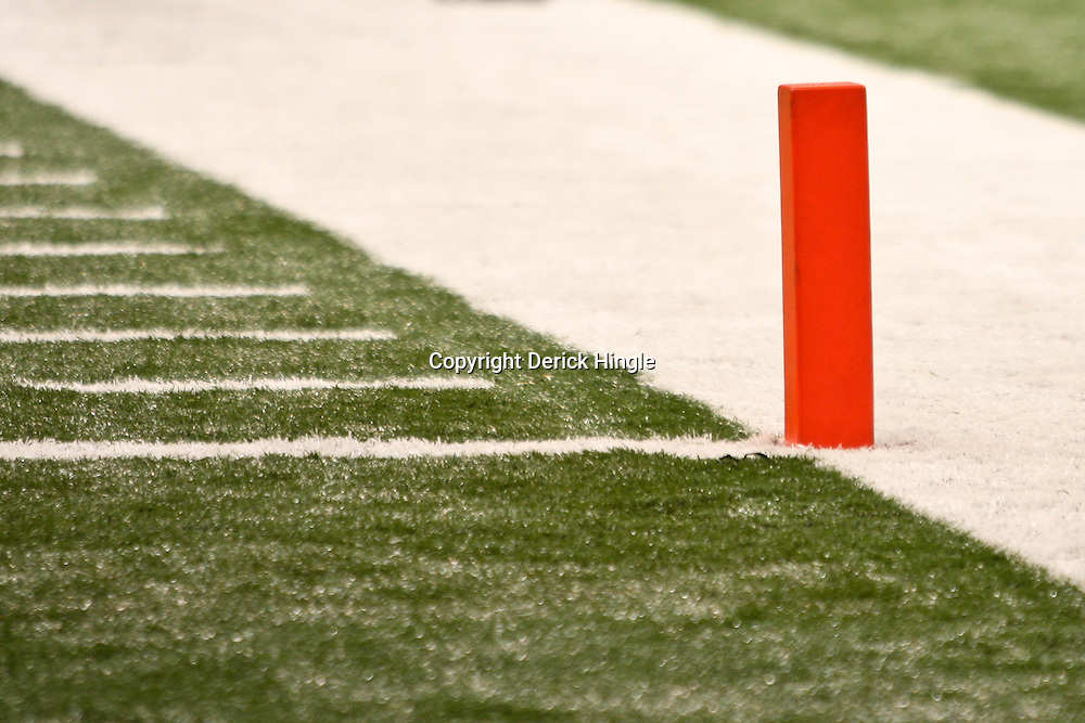 November 28, 2011; New Orleans, LA, USA; A detailed view of a goal line pylon during the second half of a game between the New Orleans Saints and the New York Giants at the Mercedes-Benz Superdome. The Saints defeated the Giants 49-24. Mandatory Credit: Derick E. Hingle-US PRESSWIRE