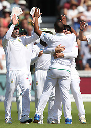 South Africa's Vernon Philander celebrates with team-mates after dismissing England's Keaton Jennings during day four of the Second Investec Test match at Trent Bridge, Nottingham.