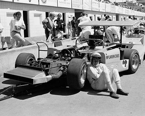 Bruce McLaren takes a moment before practice at the 1969 Edmonton Can-Am
