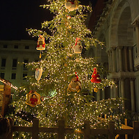 VENICE, ITALY - DECEMBER 08:  A Christmas tree decorated by Thun in its traditional style is seen as part of a Nativity scene decoration in St Mark's Square on December 8, 2011 in Venice, Italy. HOW TO LICENCE THIS PICTURE: please contact us via e-mail at sales@xianpix.com or call our offices in London   +44 (0)207 1939846 for prices and terms of copyright. First Use Only ,Editorial Use Only, All repros payable, No Archiving.© MARCO SECCHI
