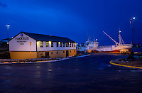 HOFN, ICELAND - CIRCA MARCH 2015: Port of Hofn in Iceland at night.