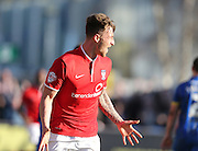 York City striker JAKE HYDE scores to make it 1-1 during the Sky Bet League 2 match between AFC Wimbledon and York City at the Cherry Red Records Stadium, Kingston, England on 7 March 2015.