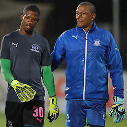 Virgil Vries G/K of Maritzburg Utd with Arthur Bartman - Goalkeeper Coach of Maritzburg Utd during the 2016 Premier Soccer League match between Maritzburg Utd and Bidets Wits  held at the Harry Gwala Stadium in Pietermaritzburg, South Africa on the 20th December 2016<br /> <br /> Photo by:   Steve Haag / Real Time Images