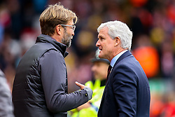 Liverpool manager Jurgen Klopp and Southampton manager Mark Hughes shake hands - Mandatory by-line: Robbie Stephenson/JMP - 22/09/2018 - FOOTBALL - Anfield - Liverpool, England - Liverpool v Southampton - Premier League